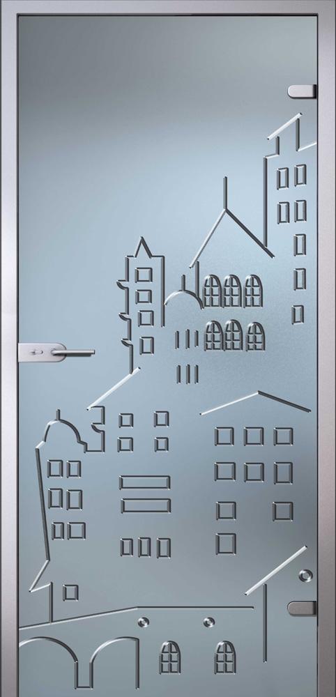 Стеклянная дверь Город