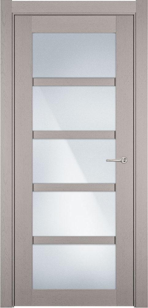 Дверь Status Optima 122 дуб белый стекло матовое