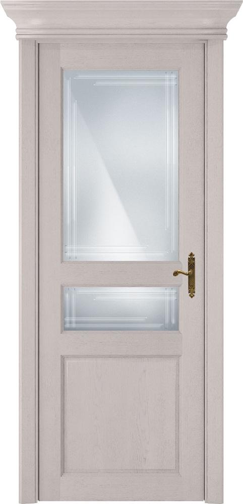 Дверь Status Classic 533 дуб белый стекло гравировка Грань
