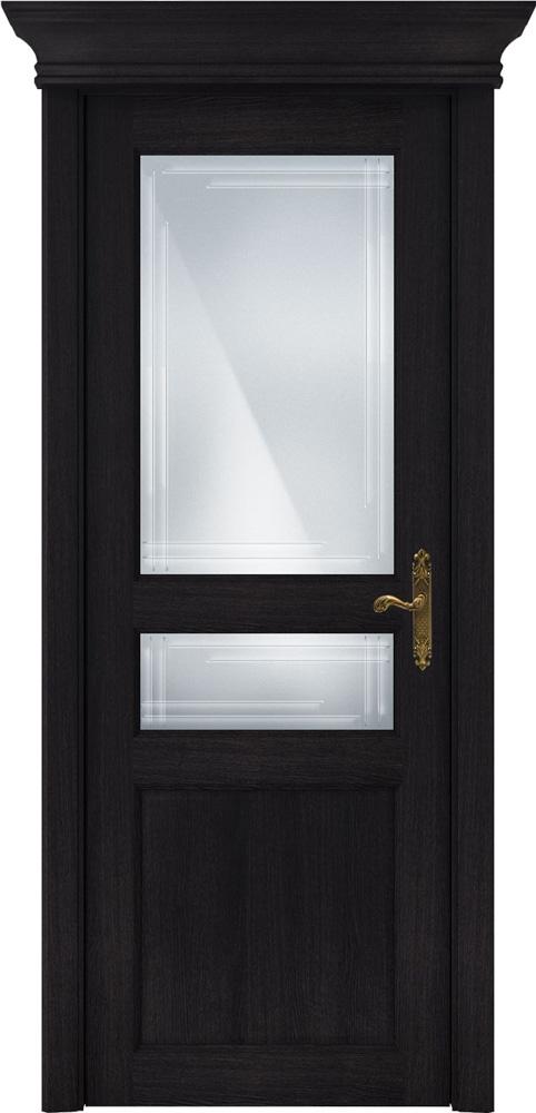 Дверь Status Classic 533 дуб черный стекло гравировка Грань