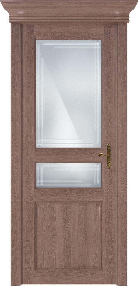 Дверь Status Classic 533 дуб капучино стекло гравировка Грань