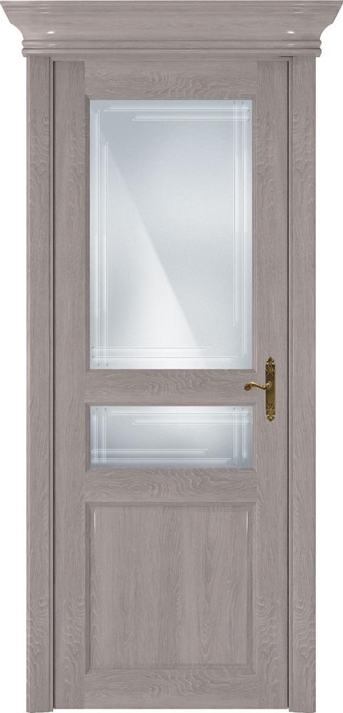 Дверь Status Classic 533 дуб серый стекло гравировка Грань