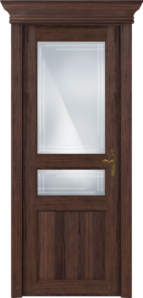Дверь Status Classic 533 орех стекло гравировка Грань