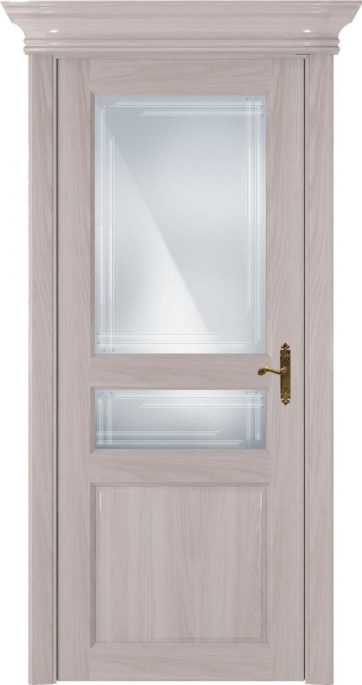 Дверь Status Classic 533 ясень стекло гравировка Грань